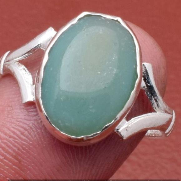 Handmade Jewelry - Aqua Chalcedony Gemstone Handmade Ring Size 7